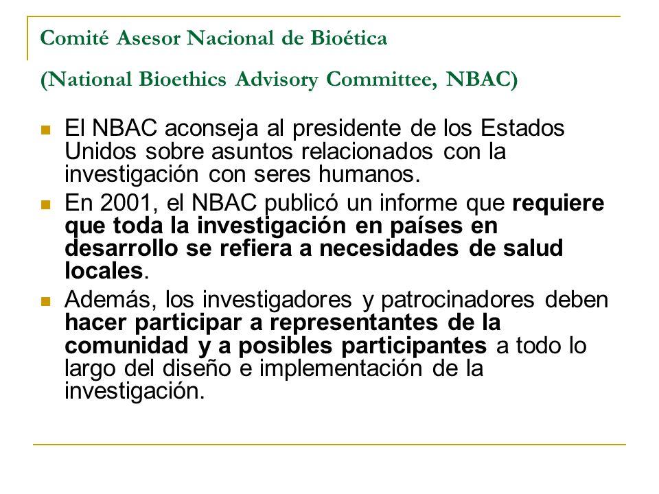 Comité Asesor Nacional de Bioética (National Bioethics Advisory Committee, NBAC)
