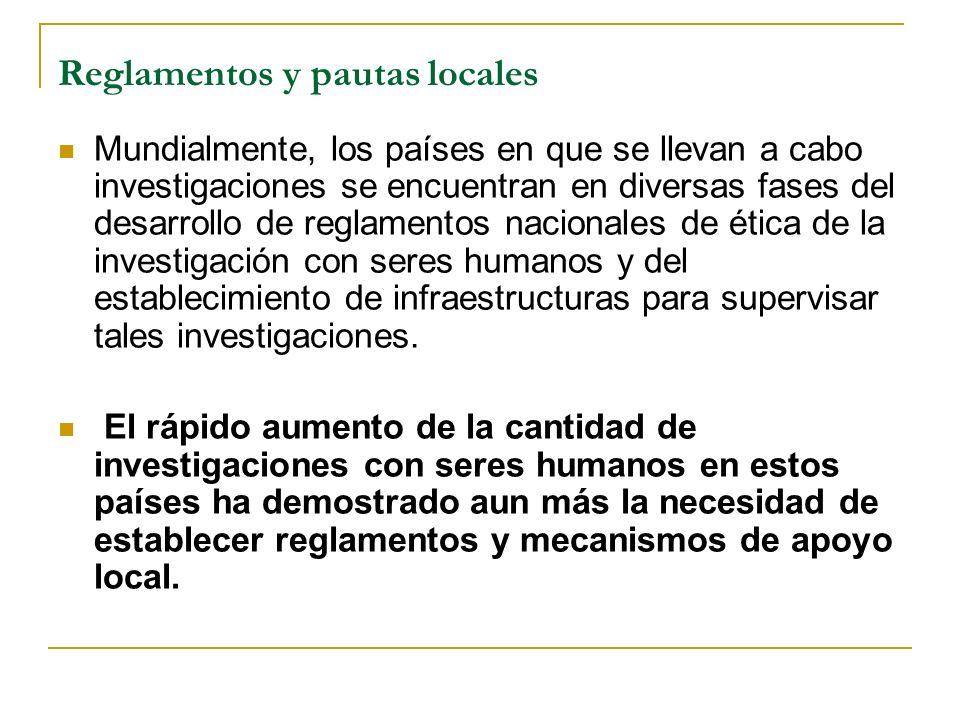 Reglamentos y pautas locales