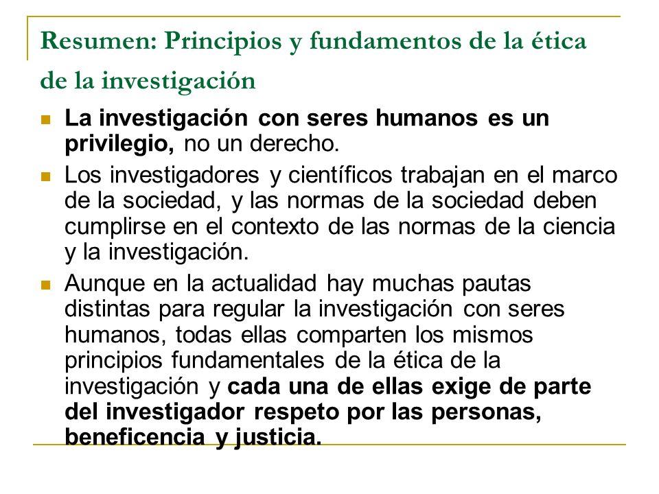 Resumen: Principios y fundamentos de la ética de la investigación