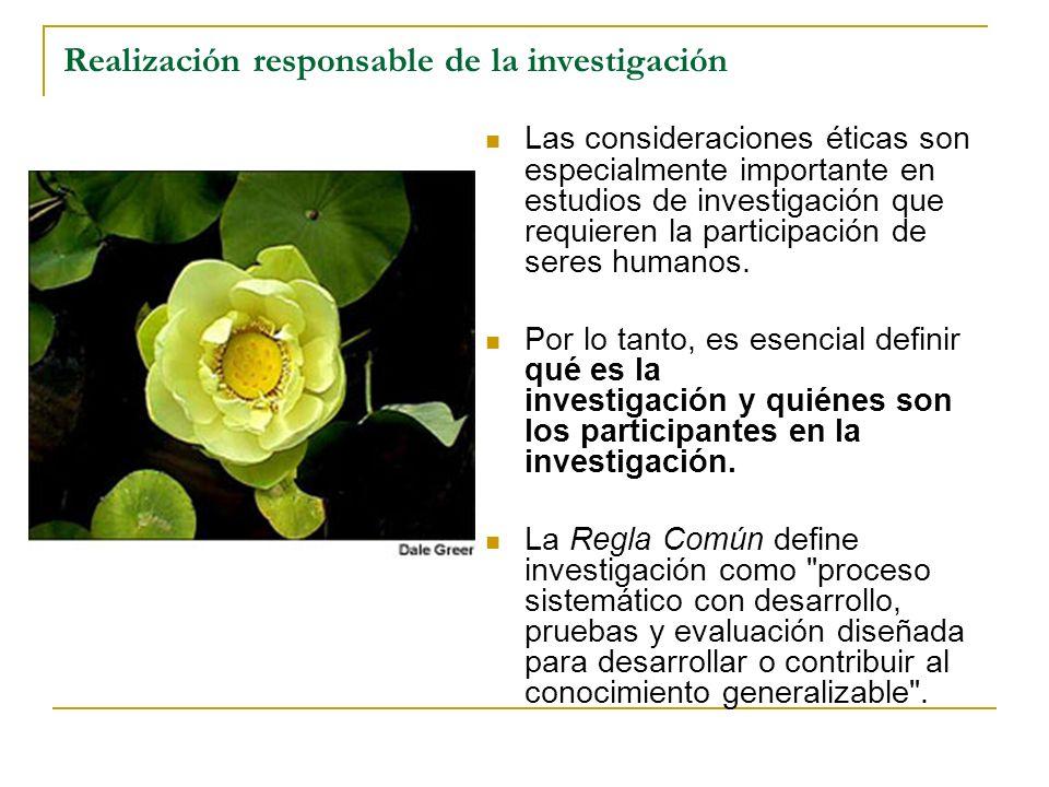 Realización responsable de la investigación