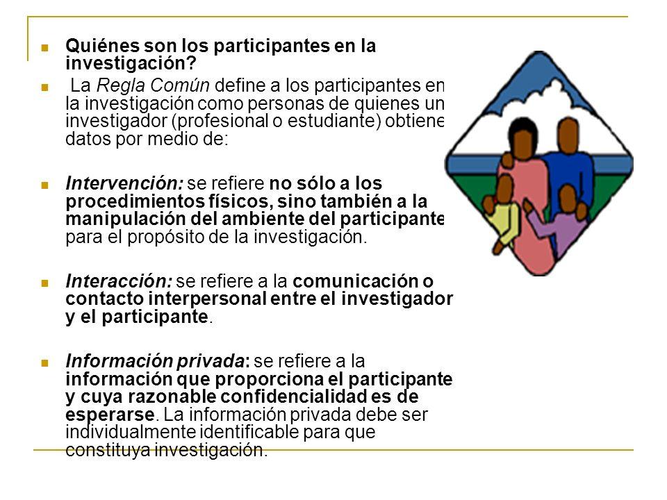 Quiénes son los participantes en la investigación