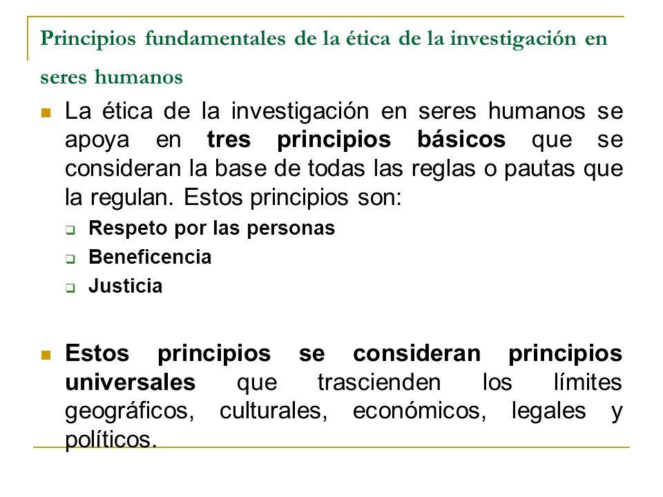 Principios fundamentales de la ética de la investigación en seres humanos