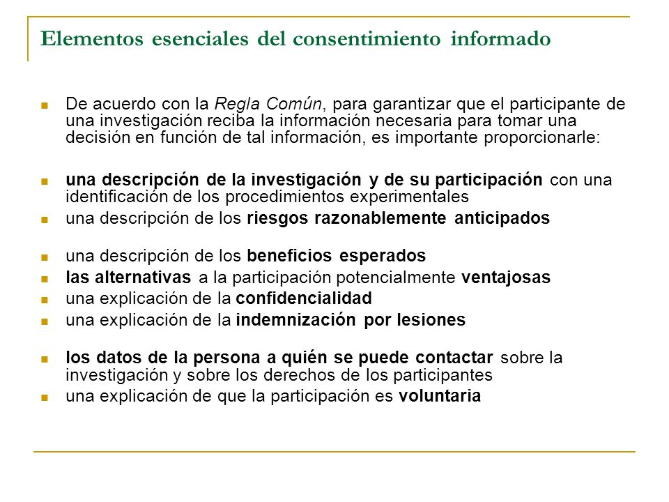 Elementos esenciales del consentimiento informado
