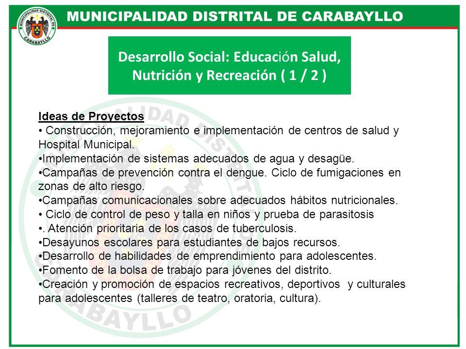 Desarrollo Social: Educación Salud, Nutrición y Recreación ( 1 / 2 )