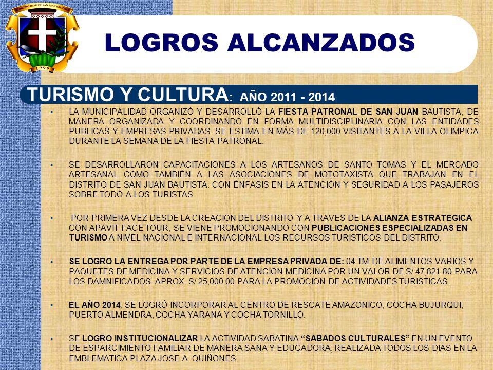 LOGROS ALCANZADOS TURISMO Y CULTURA: AÑO 2011 - 2014