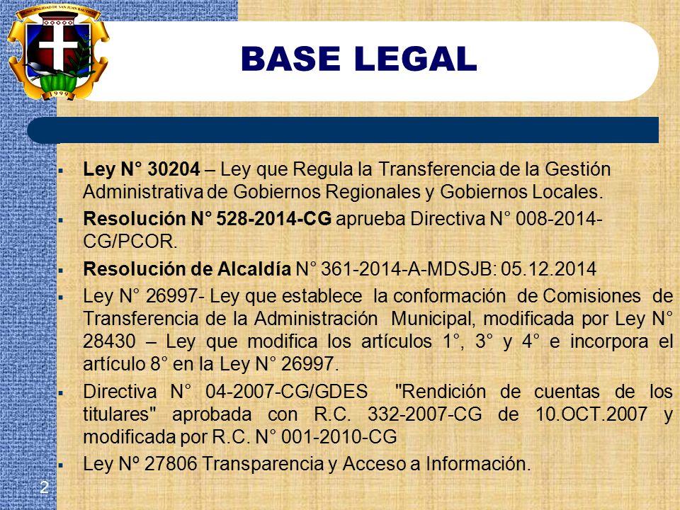 BASE LEGAL Ley N° 30204 – Ley que Regula la Transferencia de la Gestión Administrativa de Gobiernos Regionales y Gobiernos Locales.