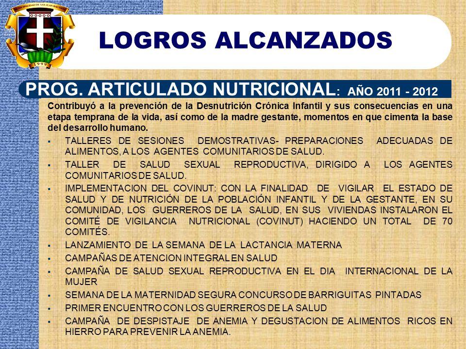 LOGROS ALCANZADOS PROG. ARTICULADO NUTRICIONAL: AÑO 2011 - 2012