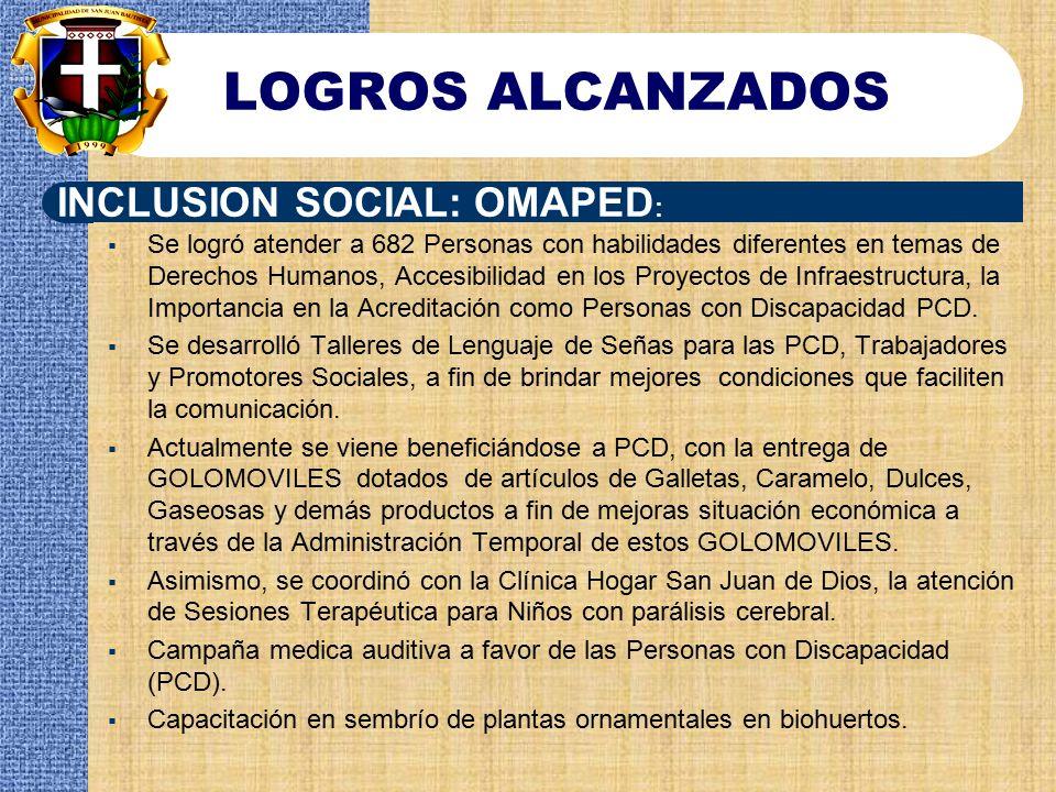 LOGROS ALCANZADOS INCLUSION SOCIAL: OMAPED: