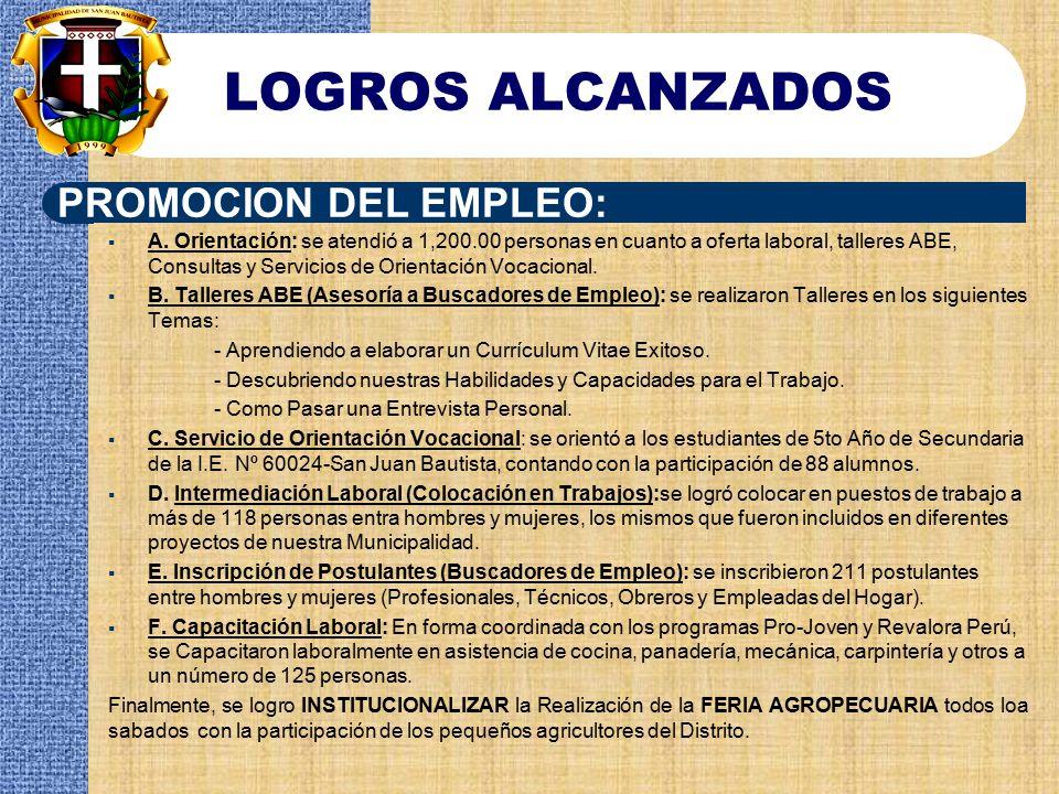 LOGROS ALCANZADOS PROMOCION DEL EMPLEO: