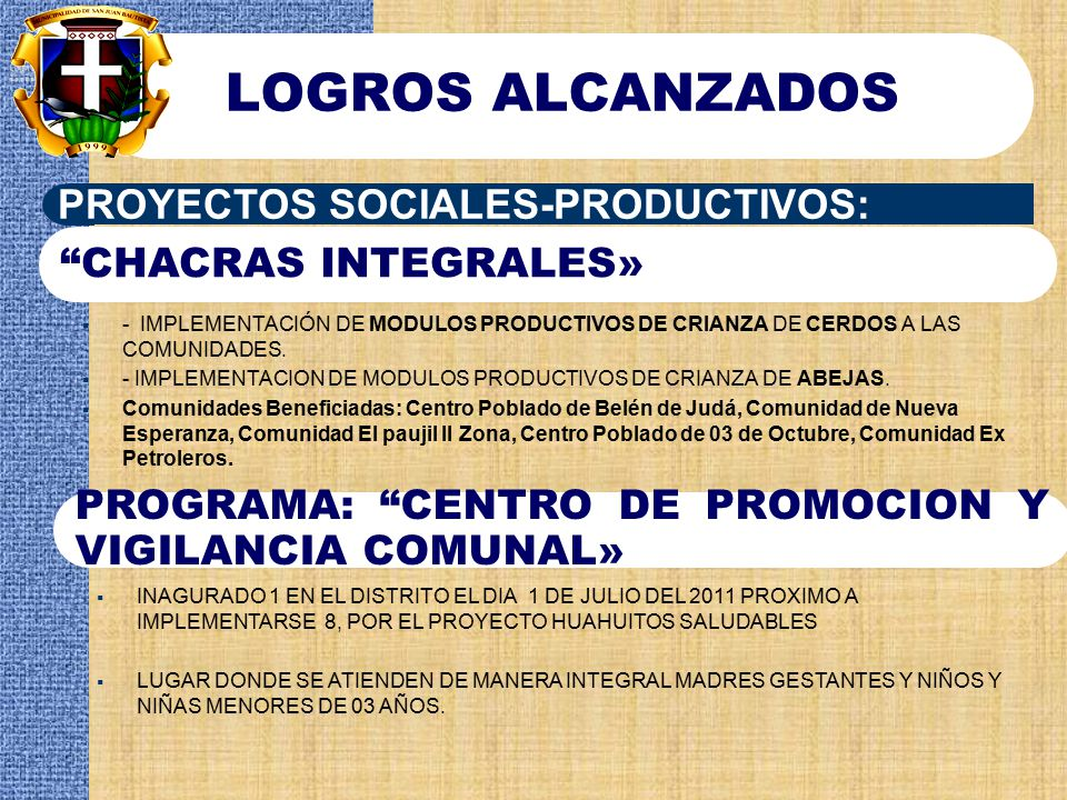 LOGROS ALCANZADOS PROYECTOS SOCIALES-PRODUCTIVOS: CHACRAS INTEGRALES»