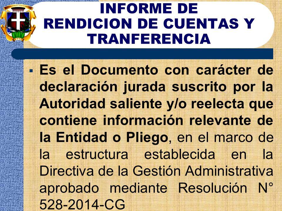 INFORME DE RENDICION DE CUENTAS Y TRANFERENCIA