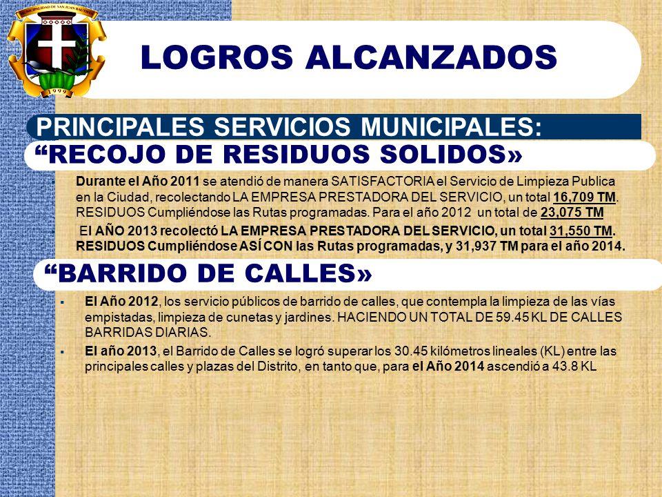 LOGROS ALCANZADOS PRINCIPALES SERVICIOS MUNICIPALES: