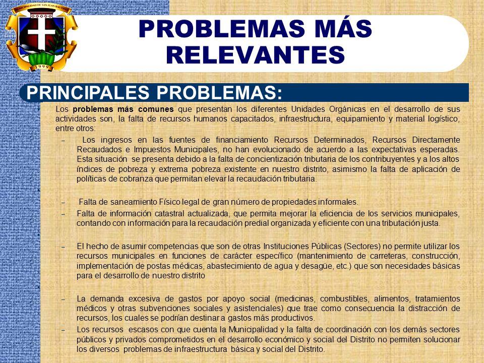PROBLEMAS MÁS RELEVANTES