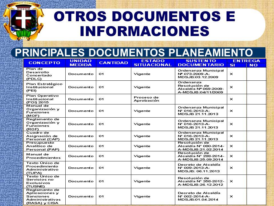 OTROS DOCUMENTOS E INFORMACIONES