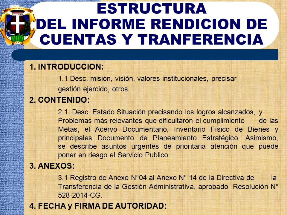 ESTRUCTURA DEL INFORME RENDICION DE CUENTAS Y TRANFERENCIA