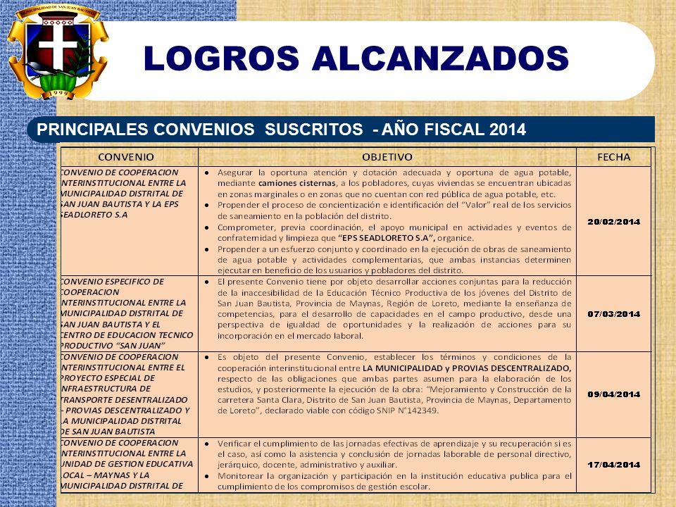 LOGROS ALCANZADOS PRINCIPALES CONVENIOS SUSCRITOS - AÑO FISCAL 2014