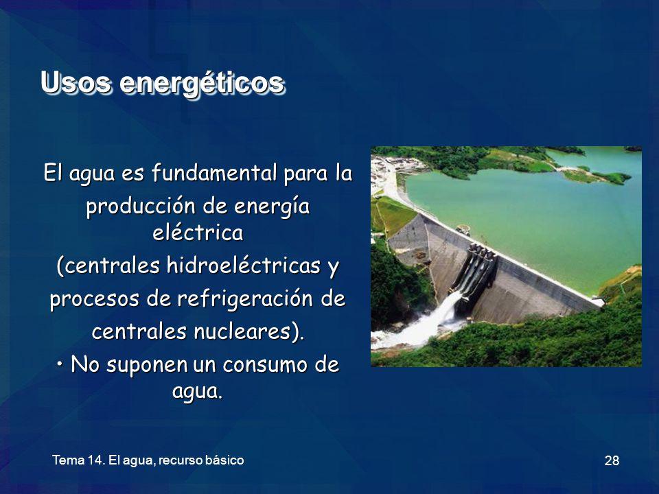 Usos energéticos El agua es fundamental para la
