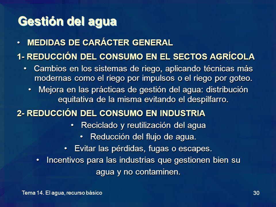 Gestión del agua MEDIDAS DE CARÁCTER GENERAL