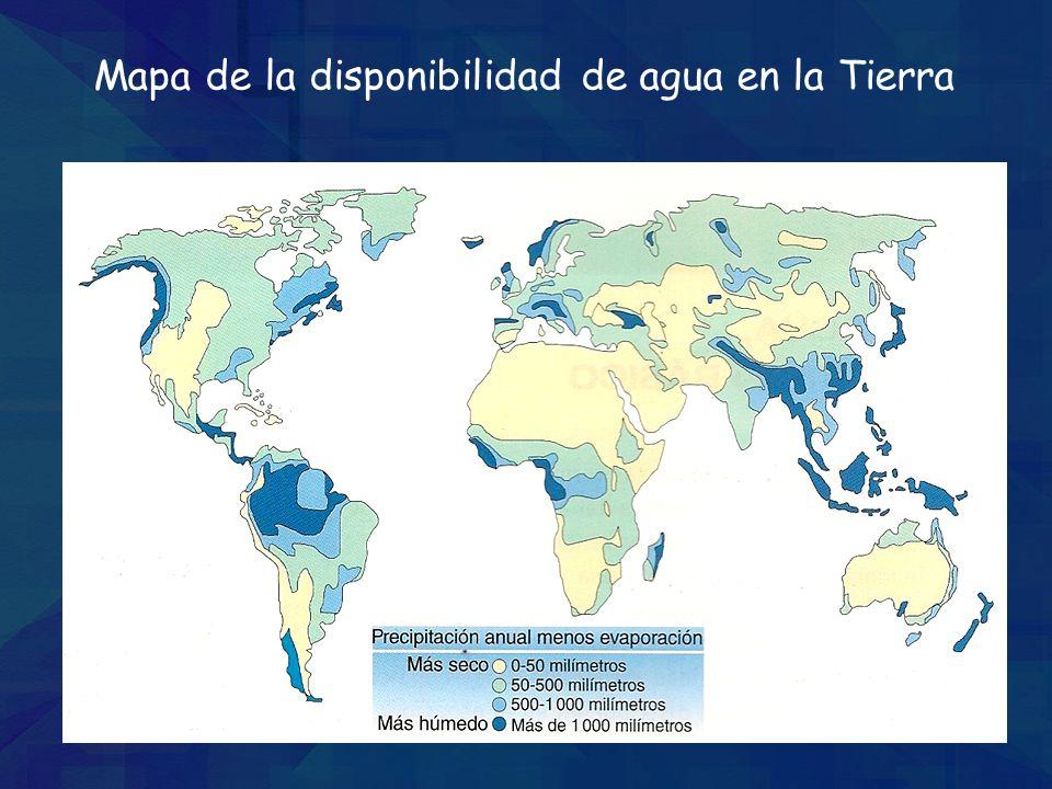 Mapa de la disponibilidad de agua en la Tierra