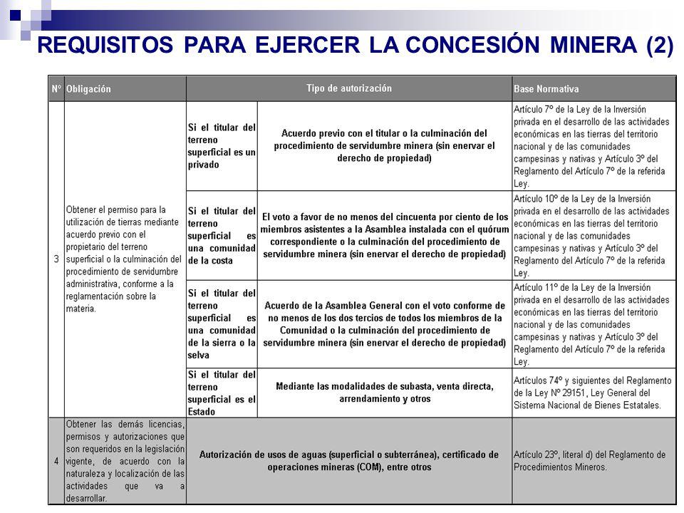 REQUISITOS PARA EJERCER LA CONCESIÓN MINERA (2)