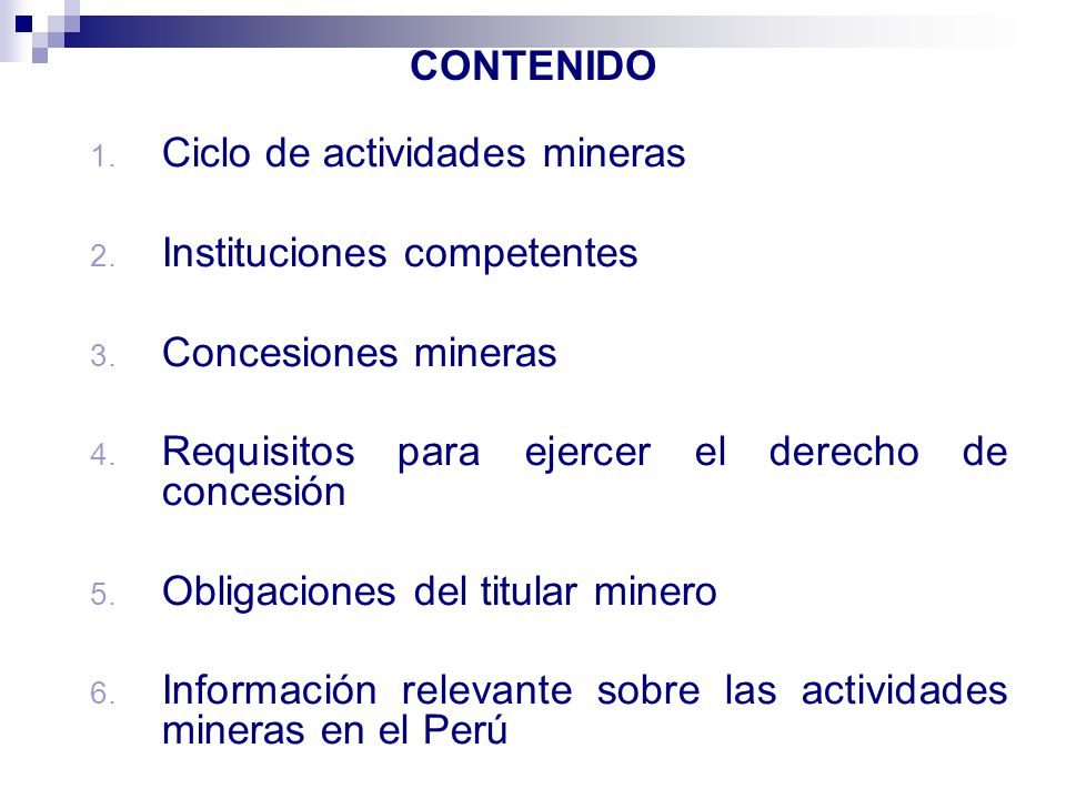Ciclo de actividades mineras Instituciones competentes