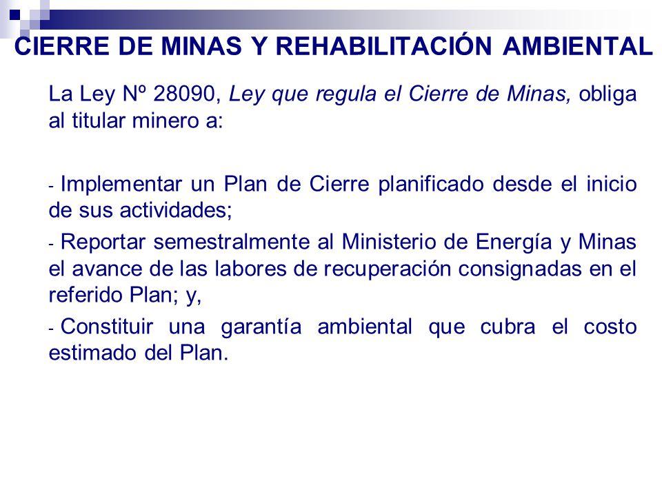 CIERRE DE MINAS Y REHABILITACIÓN AMBIENTAL
