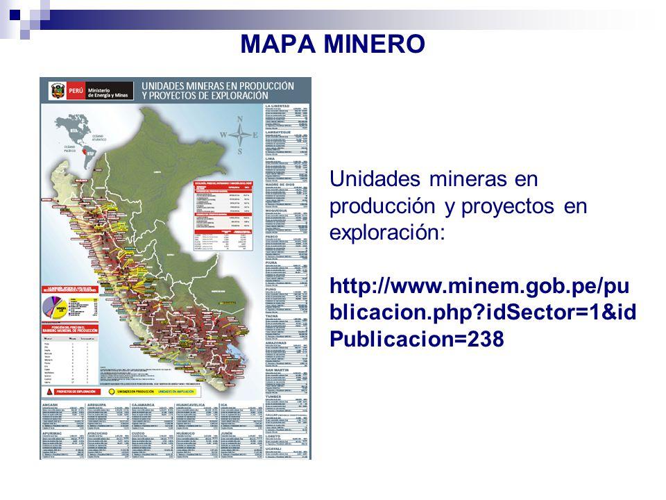 MAPA MINERO Unidades mineras en producción y proyectos en exploración: http://www.minem.gob.pe/publicacion.php idSector=1&idPublicacion=238.