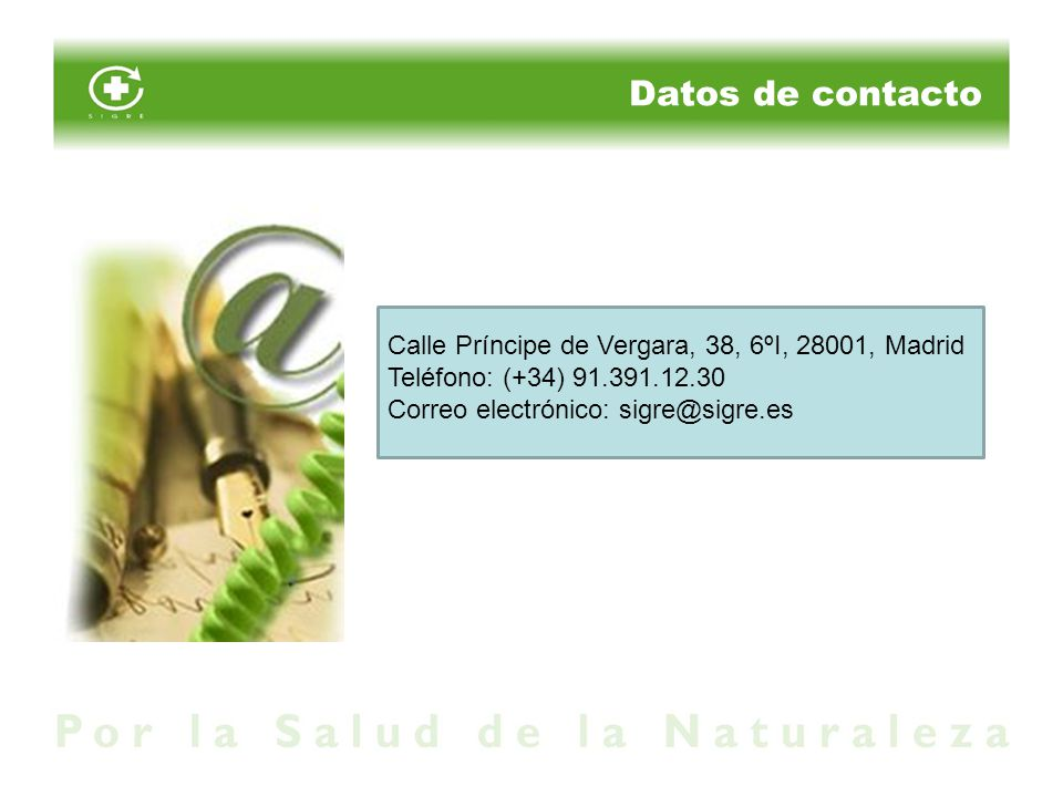 Datos de contacto Calle Príncipe de Vergara, 38, 6ºI, 28001, Madrid