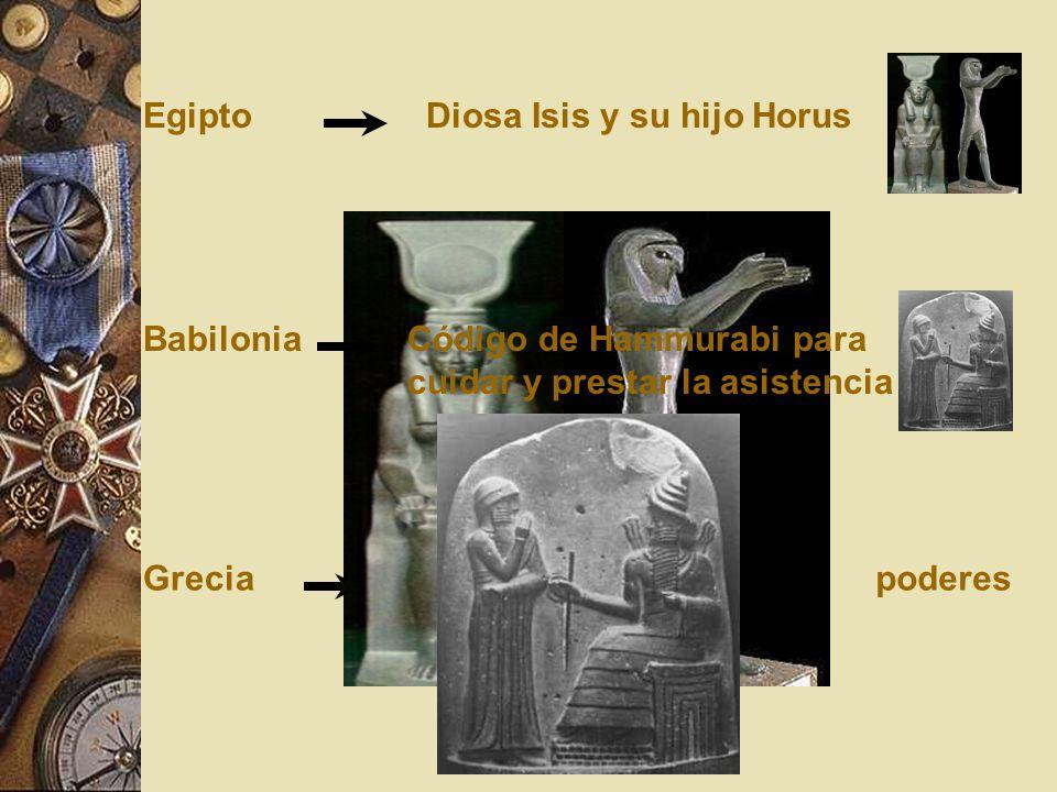Egipto Diosa Isis y su hijo Horus. Babilonia. Código de Hammurabi para. cuidar y prestar la asistencia.