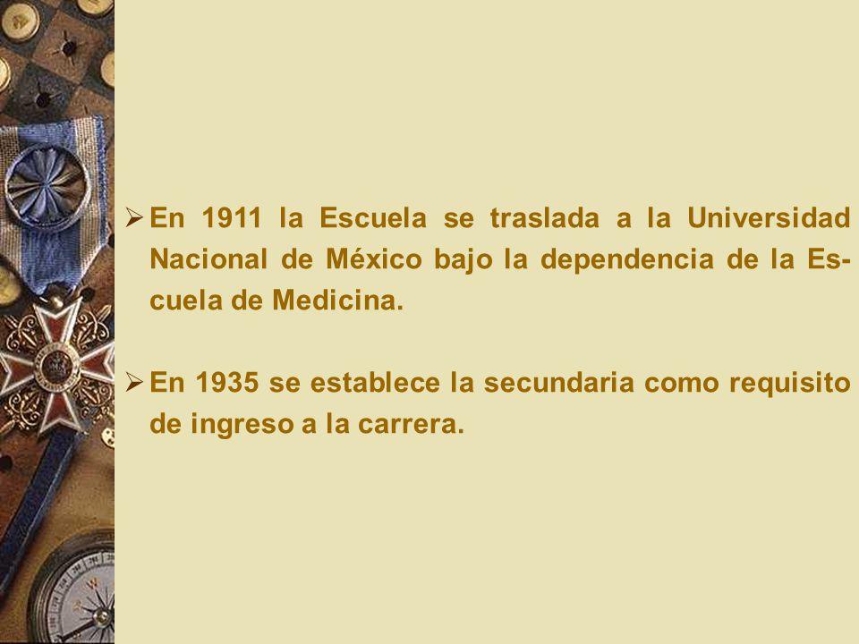 En 1911 la Escuela se traslada a la Universidad Nacional de México bajo la dependencia de la Es-cuela de Medicina.