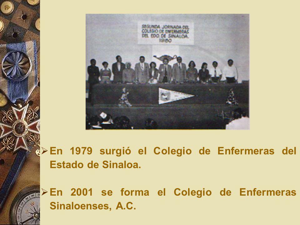 En 1979 surgió el Colegio de Enfermeras del Estado de Sinaloa.