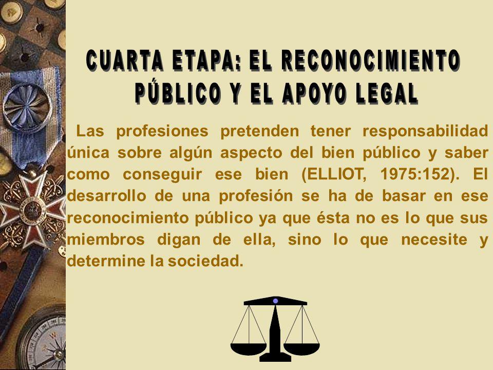 CUARTA ETAPA: EL RECONOCIMIENTO PÚBLICO Y EL APOYO LEGAL