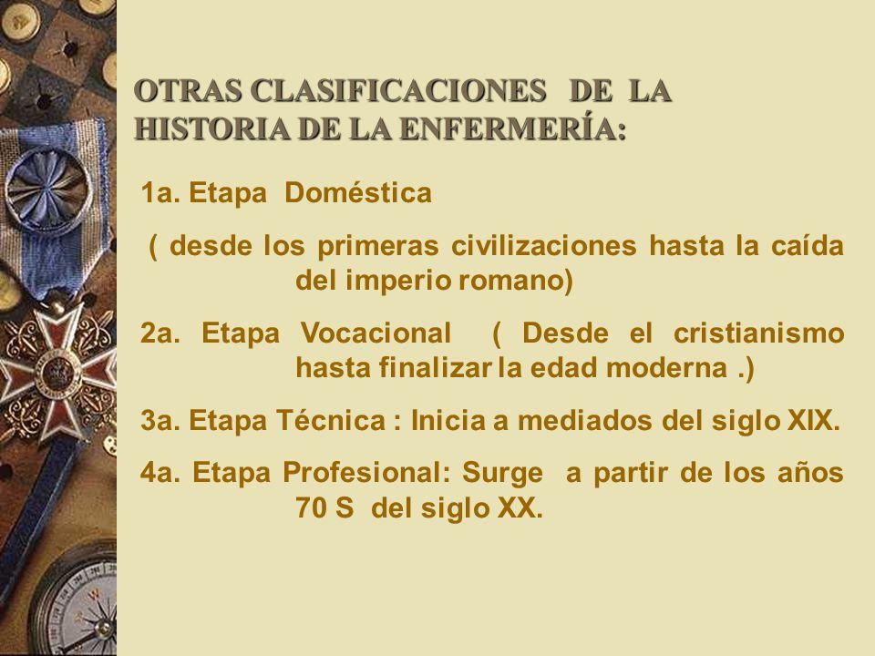 OTRAS CLASIFICACIONES DE LA HISTORIA DE LA ENFERMERÍA: