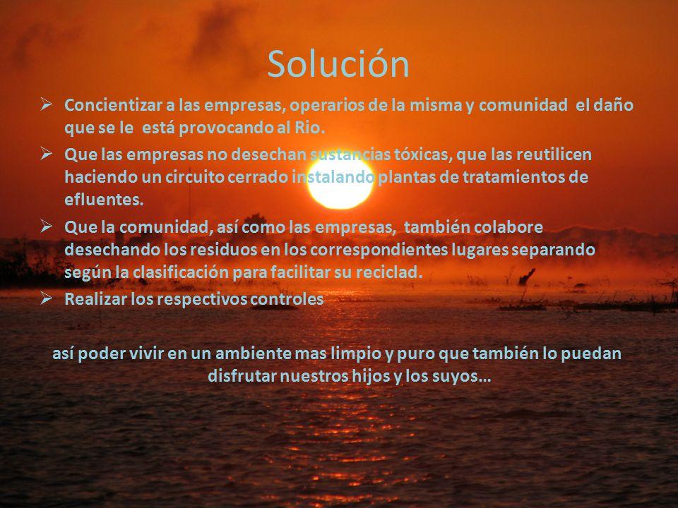 Solución Concientizar a las empresas, operarios de la misma y comunidad el daño que se le está provocando al Rio.