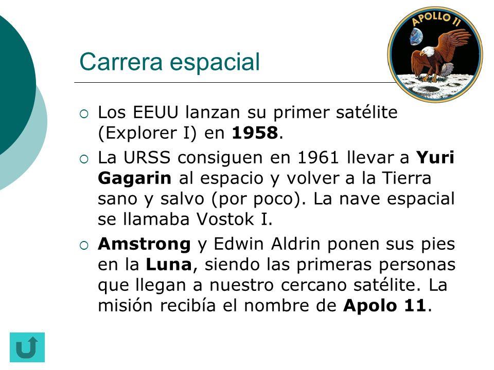 Carrera espacial Los EEUU lanzan su primer satélite (Explorer I) en 1958.