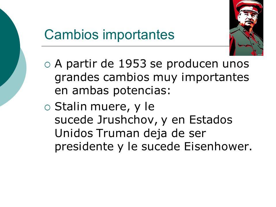 Cambios importantes A partir de 1953 se producen unos grandes cambios muy importantes en ambas potencias: