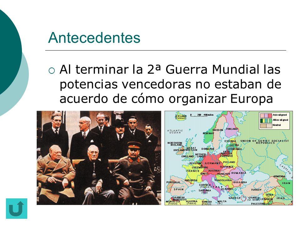 Antecedentes Al terminar la 2ª Guerra Mundial las potencias vencedoras no estaban de acuerdo de cómo organizar Europa.