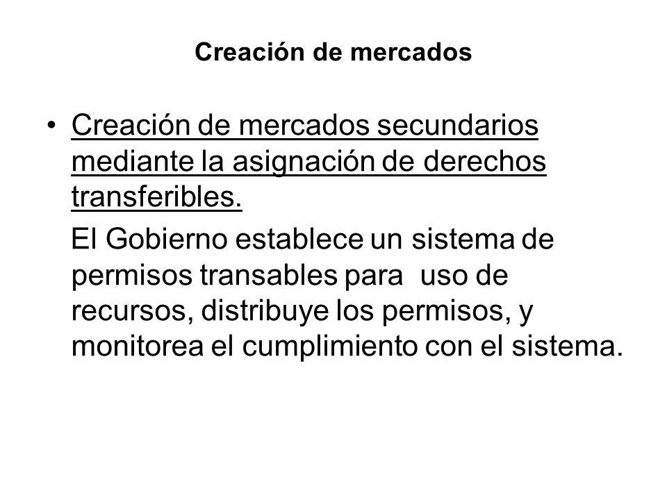 Creación de mercados Creación de mercados secundarios mediante la asignación de derechos transferibles.