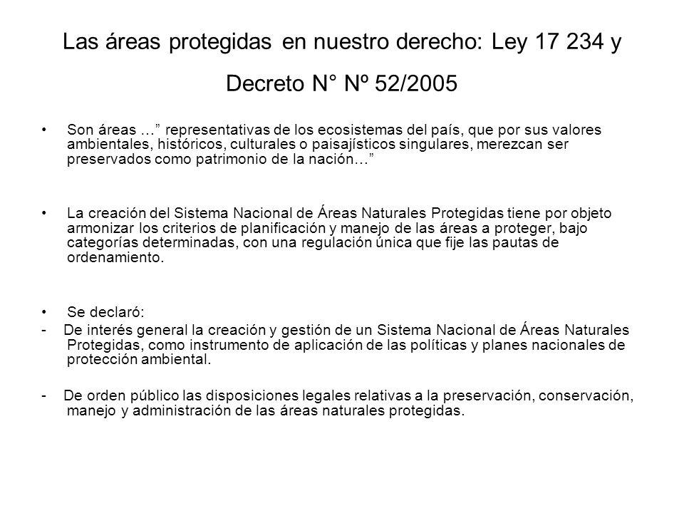 Las áreas protegidas en nuestro derecho: Ley 17 234 y Decreto N° Nº 52/2005