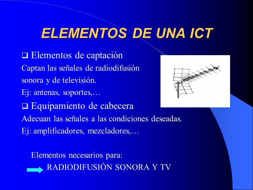 ELEMENTOS DE UNA ICT Elementos de captación Equipamiento de cabecera