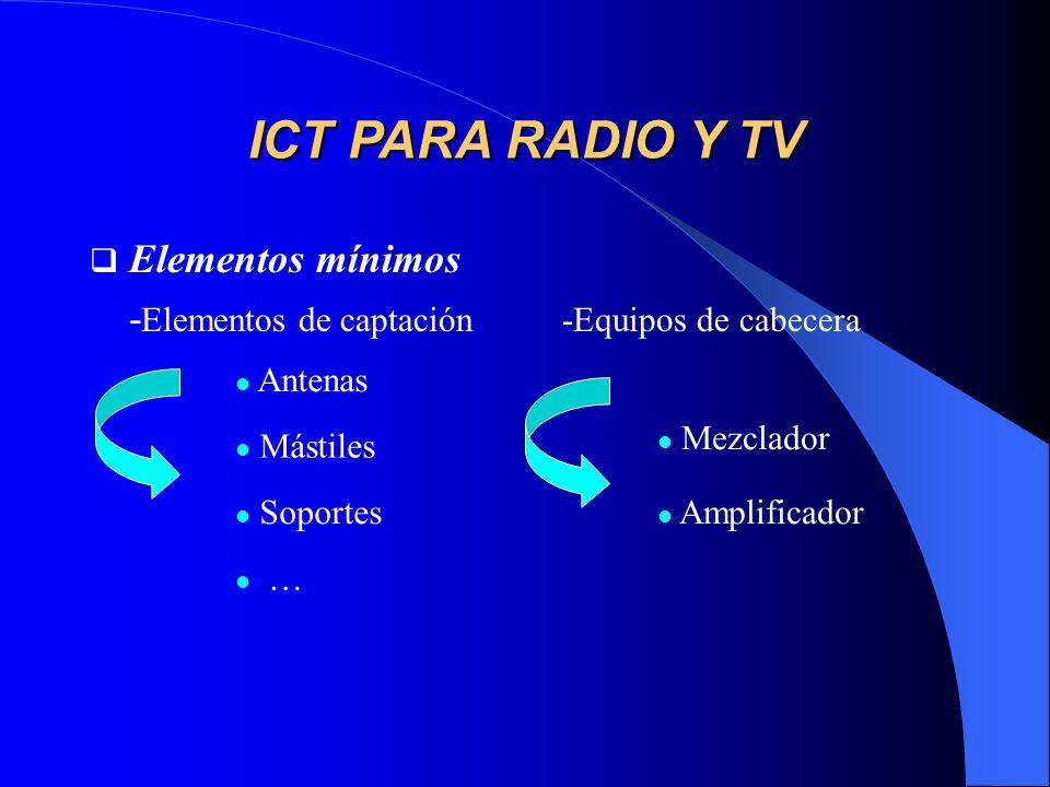 ICT PARA RADIO Y TV Elementos mínimos
