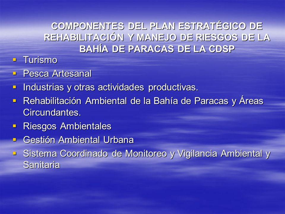 COMPONENTES DEL PLAN ESTRATÉGICO DE REHABILITACIÓN Y MANEJO DE RIESGOS DE LA BAHÍA DE PARACAS DE LA CDSP