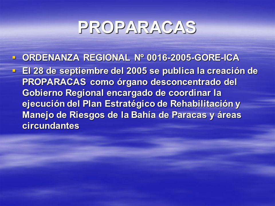 PROPARACAS ORDENANZA REGIONAL Nº 0016-2005-GORE-ICA