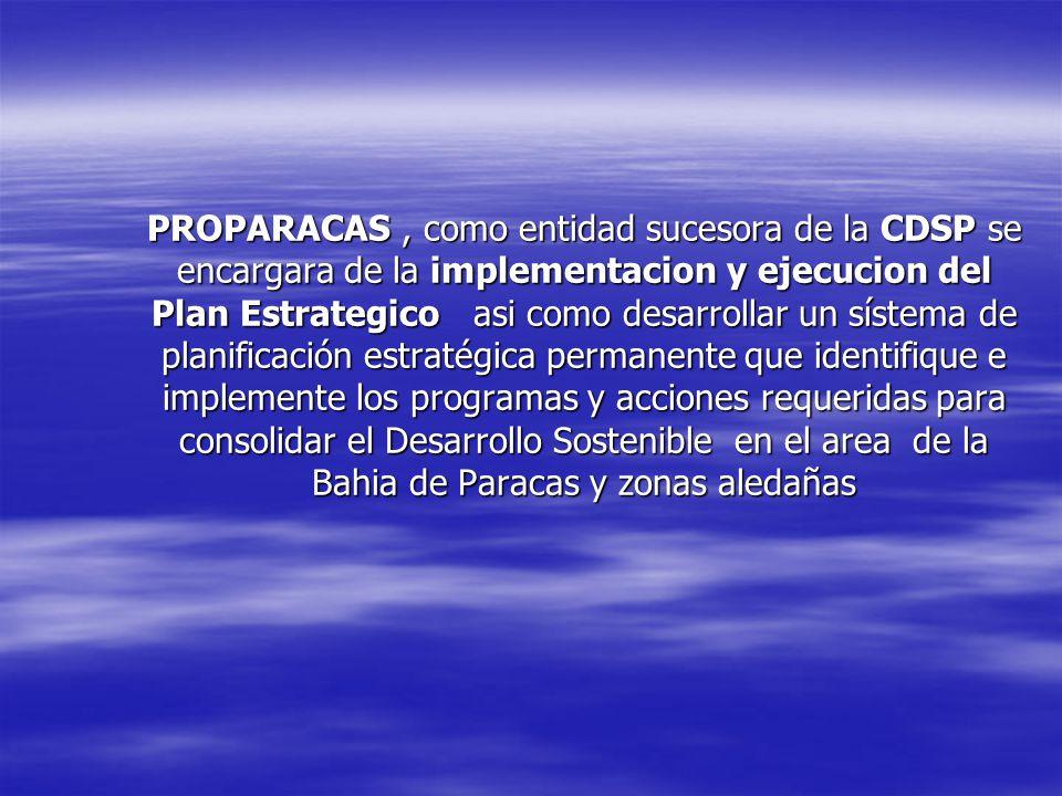PROPARACAS , como entidad sucesora de la CDSP se encargara de la implementacion y ejecucion del Plan Estrategico asi como desarrollar un sístema de planificación estratégica permanente que identifique e implemente los programas y acciones requeridas para consolidar el Desarrollo Sostenible en el area de la Bahia de Paracas y zonas aledañas