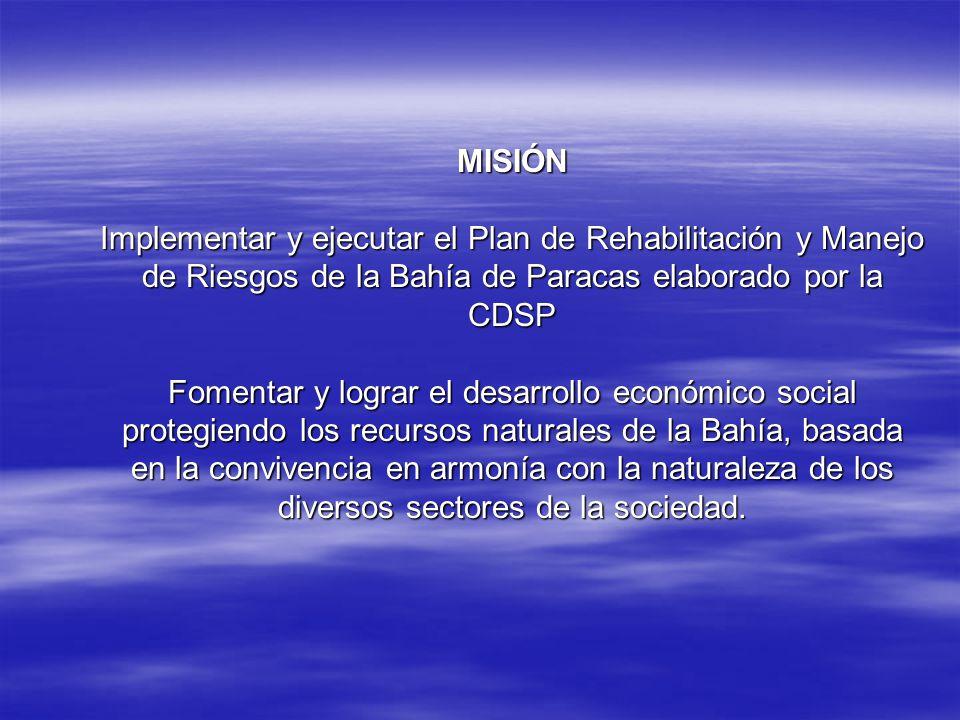 MISIÓN Implementar y ejecutar el Plan de Rehabilitación y Manejo de Riesgos de la Bahía de Paracas elaborado por la CDSP Fomentar y lograr el desarrollo económico social protegiendo los recursos naturales de la Bahía, basada en la convivencia en armonía con la naturaleza de los diversos sectores de la sociedad.