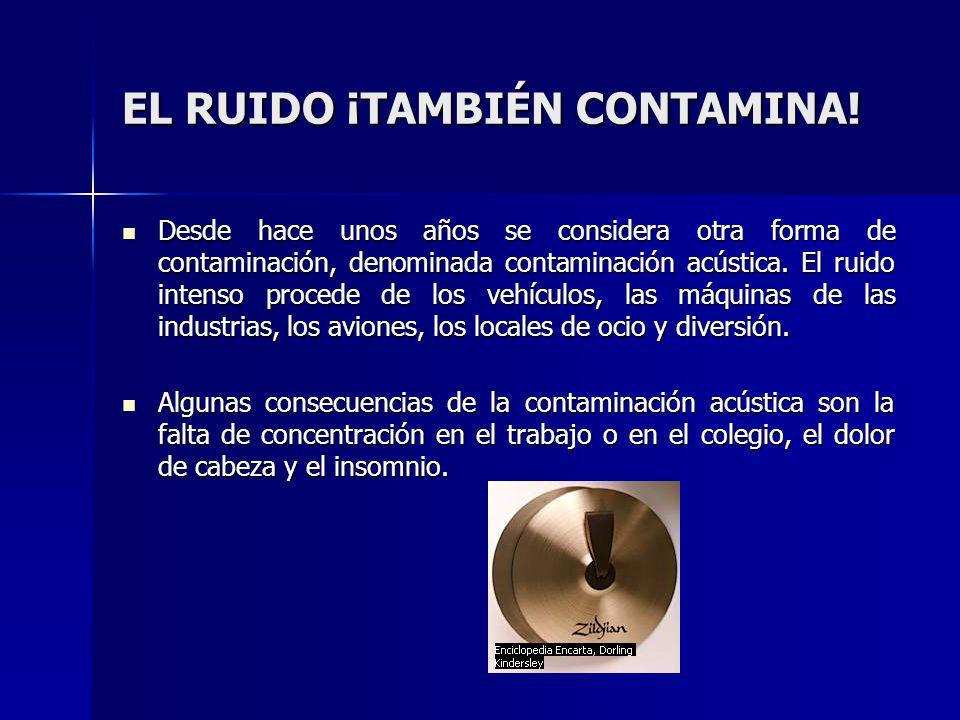 EL RUIDO ¡TAMBIÉN CONTAMINA!