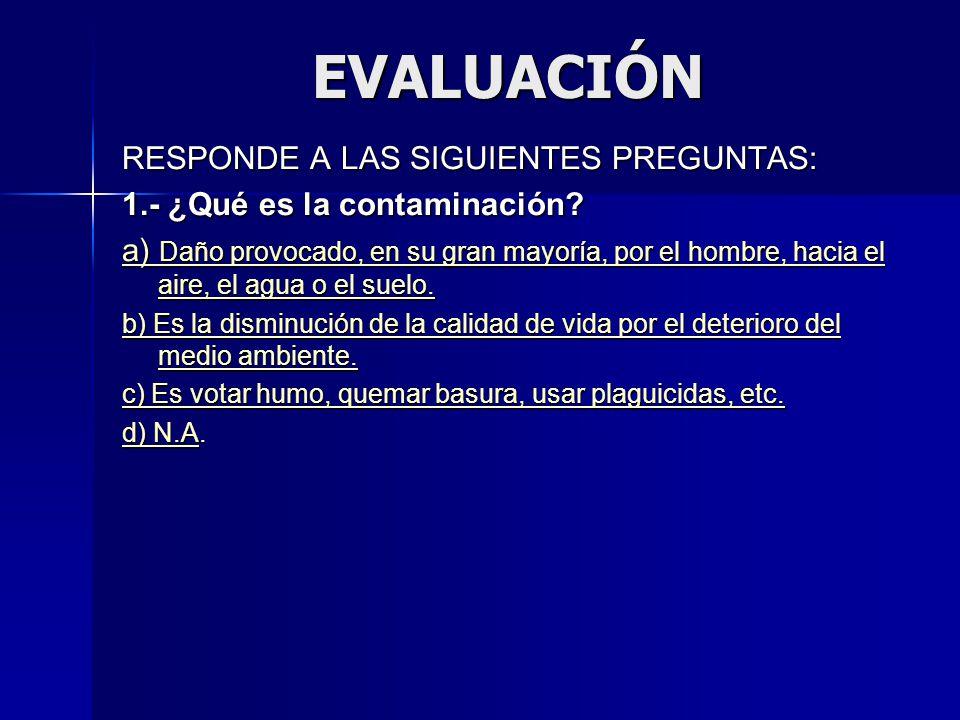 EVALUACIÓN RESPONDE A LAS SIGUIENTES PREGUNTAS: