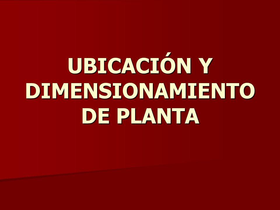 UBICACIÓN Y DIMENSIONAMIENTO DE PLANTA
