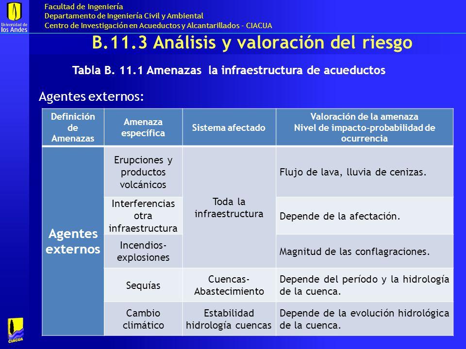 B.11.3 Análisis y valoración del riesgo