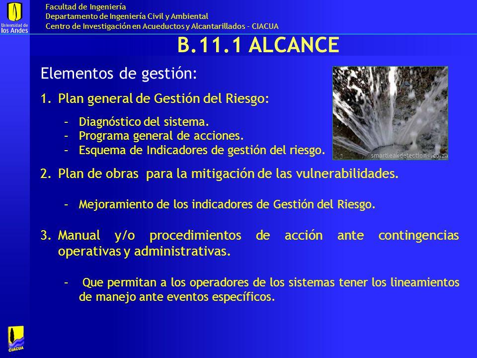 B.11.1 Alcance Elementos de gestión: